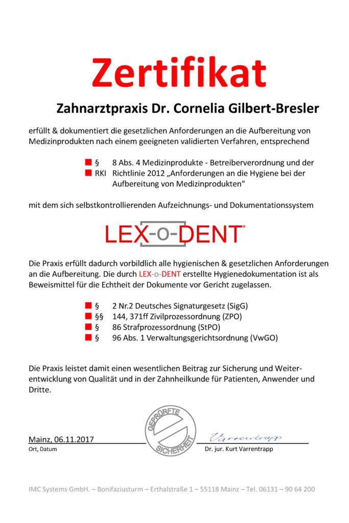 Zertifikat Lex-o-Dent